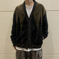 suede leather & knit design cardigan (GRN/GRY)