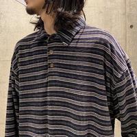 90s velour striped polo shirt
