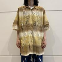 oversized dragon patterned mesh shirt