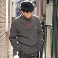 """POLO JEANS"" half zip rib knit"