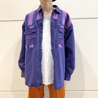 80s~ design denim L/S shirt