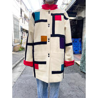80s mondrian pattern wool coat