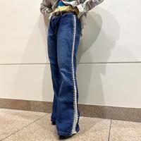 90s~ lace-up design flare denim pants