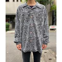 90s open collar all pattern shirt