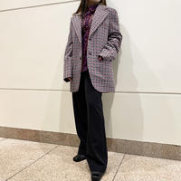70s〜houndstooth patterned tailored jacket  (GRY/RED)