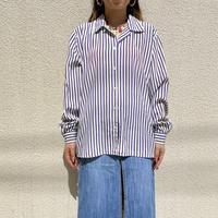 90s open collar striped shirt