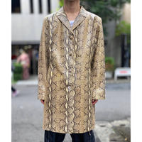 python pattern leather long jacket