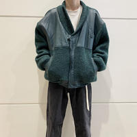 80s〜leather×knit zip up jacket