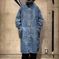 80s stand collar denim long coat