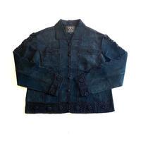 old lace×leather shirt jacket