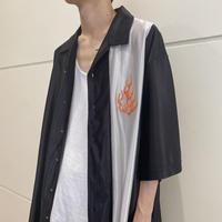 90s~ fire patterned shiny shirt