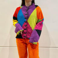 90s〜 colorful collarless knit jacket