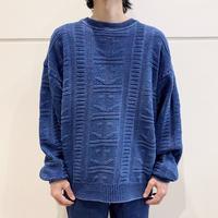 90s indigo dyeing cotton knit sweater