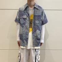 "70s ""Wrangler"" denim printed shirt"