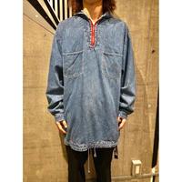 90s oversized half zip denim pullover