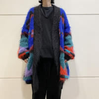80s~ all patterned mohair knit cardigan
