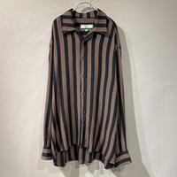 open collar stripe L/S shirt