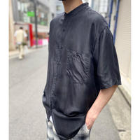 90s band collar s/s silk shirt