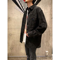90s〜black suede leather shirt
