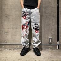 "90s ""SLICK"" painted denim pants"