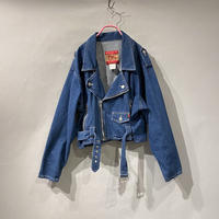 short & wide denim rider's jacket