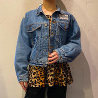 "80s ""GET USED"" short & wide denim jacket"