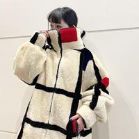 80s〜mondrian patterned fake fur jacket