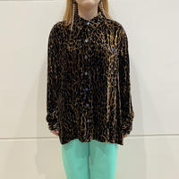90s leopard patterned velour shirt