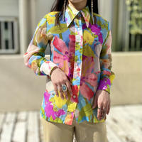70s flower patterned see-through shirt