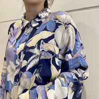 """80s """"CAFE"""" flower patterned rayon shirt"""