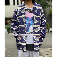 "90s ""MICHIGAN RAG"" seagulls pattern shawl collar jacket"