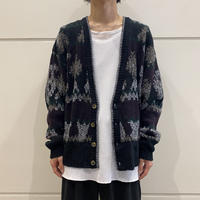 90s all patterned acrylic knit cardigan