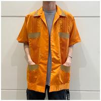 90s fake leather switching cuba shirt