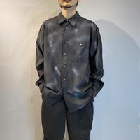 paint design fake suede shirt