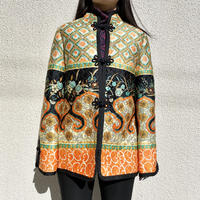 70s〜flare sleeves flower patterned china jacket