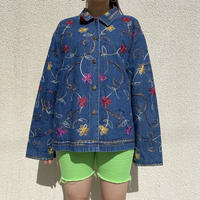 90s~ embroidery flower patterned denim jacket