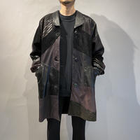 80s〜leather patchworked design coat