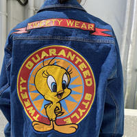 "00s "" Tweety "" leather embroidery denim jacket"