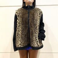 90s leopard patterned zip up knit sweater