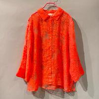 flower pattern see-through design shirt