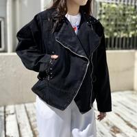 80s dolman sleeves denim raiders jacket
