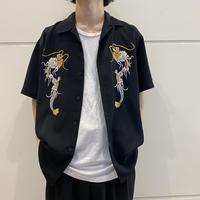 90s~ embroidery design open collar shirt
