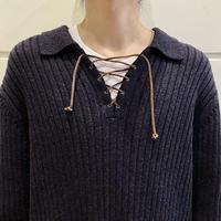 """90s """"LAUREN"""" lace up design rib knit"""