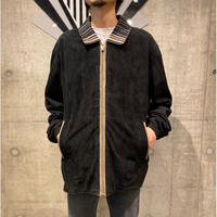 knit×leather zip up shirt