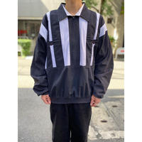 90s bi-color design half zip sweat shirt