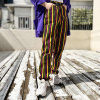 80s〜high waist striped tapered pants