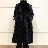 black fur long vest