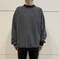 80s~ striped rib mock neck shirt
