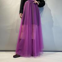 mesh design flare long skirt