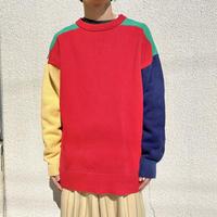 90s~ mulch color cotton knit sweater